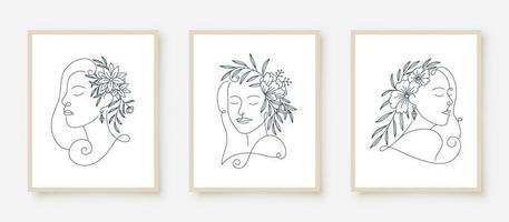 Reihe von Frauenporträts Strichzeichnungen Blumenrahmen vektor