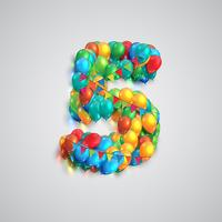 Zahl gebildet durch bunte Ballone, Vektor
