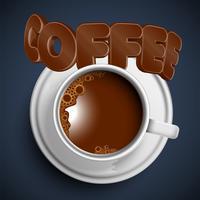Eine Schale eines realistischen heißen Kaffees, Vektor