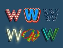 Ein Zeichensatz von 6 verschiedenen Schriftarten, Vektor
