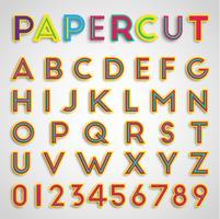 Pappersklippat teckensnitt med siffror, vektor