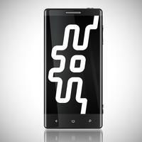 Schwarzes geschirmtes Telefon mit einem Hashtag