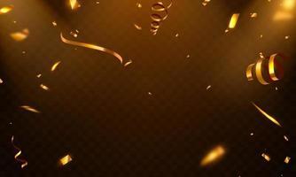 Feierschablone mit Konfettigoldbändern. Luxus. vektor