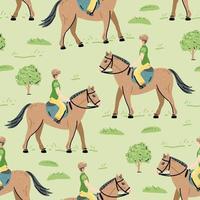 Reiter Pferd nahtlose Muster. tierische Kulisse. Vektor-Illustration vektor