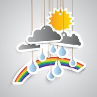 Väder ikon gjord av papper, vektor illustration