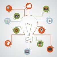 Lightbulb och infographic ikoner, vektor