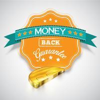 'Money back guarantee' klistermärke med realistiska mynt, vektor