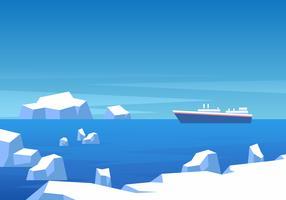 Schiff durch eisigen Ozean-Hintergrund-Vektor vektor