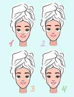 Mädchen flache Illustration mit Augenklappen auf unterschiedliche Weise vektor