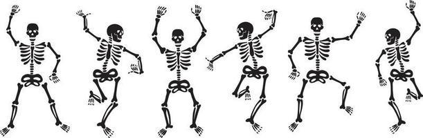 Set aus schwarzen Skeletten, die energisch tanzen und Spaß haben vektor