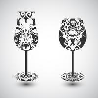 Ett vinglas och ett champagneglas med ett mönster, vektor