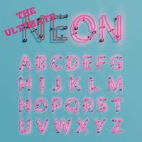 Realistisk rosa neon tecken typeset, vektor