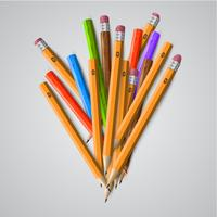Färgglada pennor, vektor