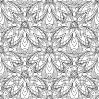 vinatge allover Schwarz-Weiß-Blumen-Mandala-Motiv. östlicher Vektor