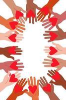 Viele Hände halten sich gegenseitig Herzen, Vektorillustration. vektor