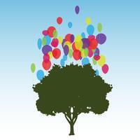 Träd och ballonger, vektor
