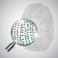 Fingerabdruck und ein Vergrößerungsglas, Vektor