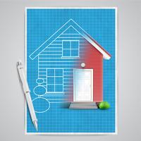 Realistiskt hus med en ritning, vektor