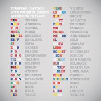 Die Hauptstädte der europäischen Länder kürzen Namen mit den nationalen Farben, Vektor