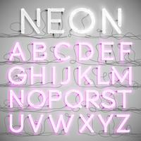 Realistisches Neonalphabet mit Drähten (ON), Vektor