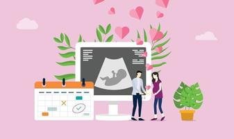 Mutterschaft oder Schwangerschaft glückliches Paar mit Liebe und Geburtskalender vektor