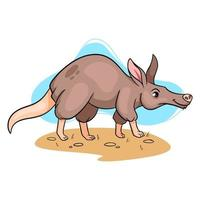 Tiercharakter lustiges Erdferkel im Cartoon-Stil. vektor