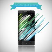 Färgglada mobiltelefon illustration med färgade banor, vektor