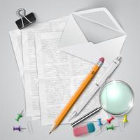 Kontors- eller skolmaterial och objekt på vit bakgrund, vektor