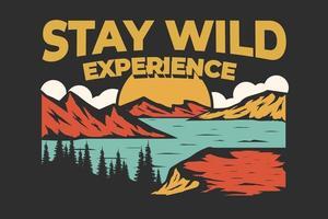 bleib wild erfahrung berg natur handgezeichneter stil vektor