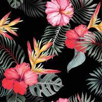 Muster von Hibiskusblüten mit Aquarell gemalt 5 vektor