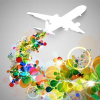Färgglatt flygplan / flygande vektor illustration