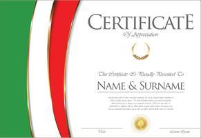 Zertifikat oder Diplom Italien Flag Design vektor