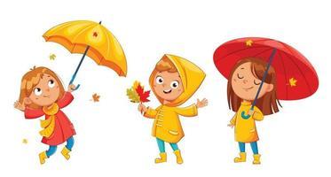 glückliches lustiges Kind in Regenmantel und Gummistiefeln vektor