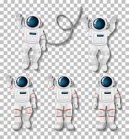 Astronauten-Cartoon-Zeichensatz vektor