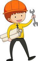 kleiner Ingenieur Gekritzel Zeichentrickfigur isoliert vektor