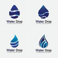 abstrakte blaue Wassertropfen-Logo-Vektor-Illustration-Design-Vorlage. vektor