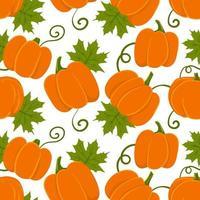 nahtloses Muster mit orangefarbenen Kürbissen und grünen Blättern vektor