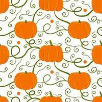 nahtloses Herbstmuster mit orangefarbenen Kürbissen vektor