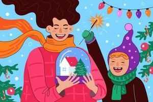 frohe weihnachten und ein glückliches neues jahr grußkarte. Schneekugel vektor