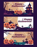 Set von fröhlichen Halloween-Bannern vektor