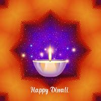 Burning diya på Diwali Holiday på geometrisk bakgrund. vektor