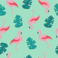 rosa Flamingo, Monstera-Blätter, grüner Hintergrund vektor