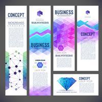 Fünf abstrakte Designfahnen, Geschäftsthema, Fliegendrucken, Webdesign