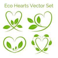 ein Satz grünes Herz mit Blättern, Öko-Symbol, isoliert auf weiß vektor