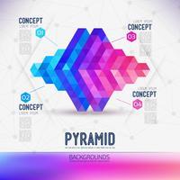 Abstrakt begrepp geometrisk pyramid, omfattningen av molekyler.