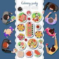 Cateringparty med människor och ett bord av rätter från menyn, topp utsikt. Vektor platt illustration.