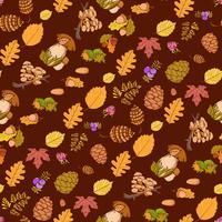 Sömlös färg vilda element i naturen, svamp, knoppar, växter, ekollon, löv.