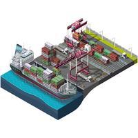 Lieferung von Fracht, See und Zug vektor