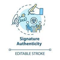 Symbol für das Authentizitätskonzept der Signatur vektor