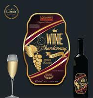 Lycklig gyllene vin etikett vektor illustration